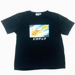 New Adult Pokemon pikachu Black T-shirt